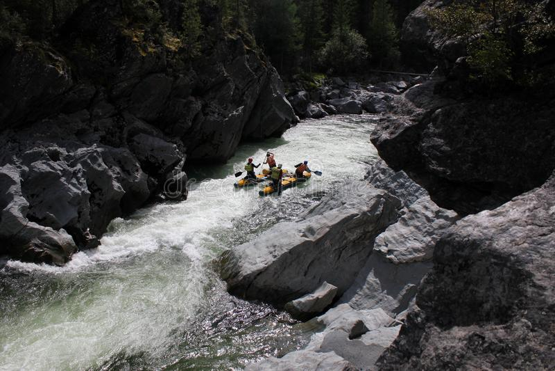 Transportar extremo no rio de Bashkaus fotos de stock