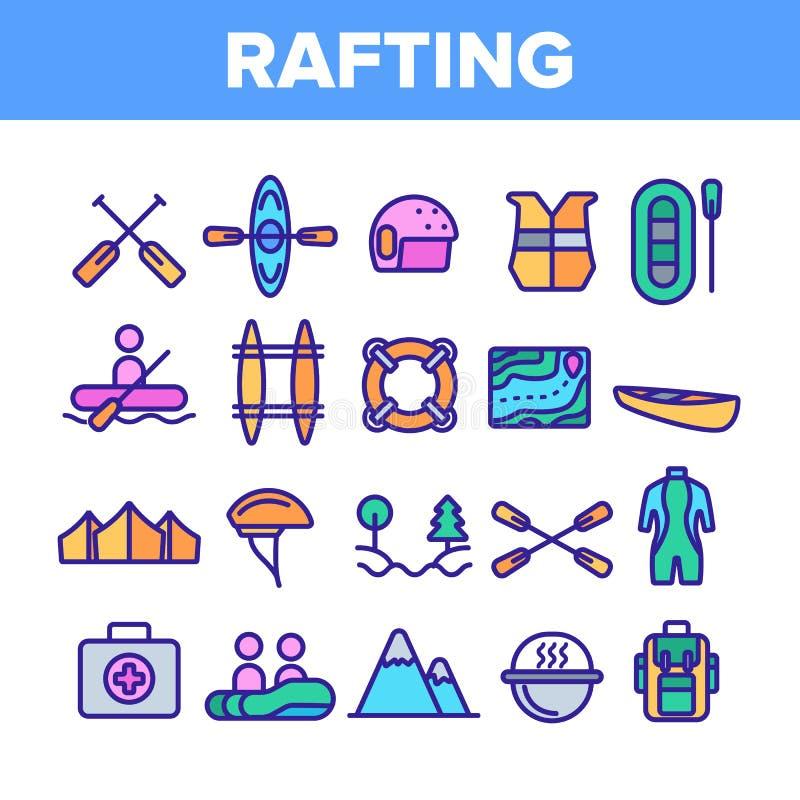 Transportar viaje en balsa, sistema linear de los iconos del vector del deporte stock de ilustración