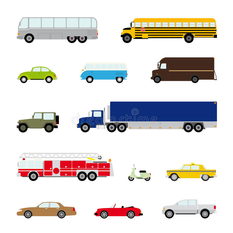 Transportation and Automotive Symbol Vector Set. Collection of thirteen motor vehicle icons, flat design stock illustration