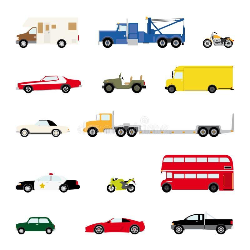 Transportation and Automotive Symbol Vector Set. Set of fourteen motor vehicle icons, flat design vector illustration