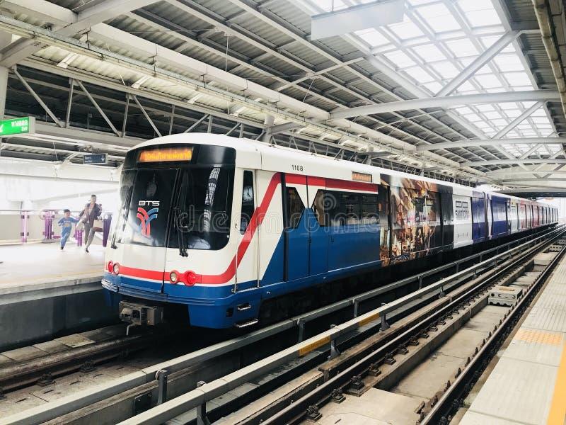 Transportation. Bangkok , Thailand - MAY 1, 2018 : BTS Sky train mass transit system in Bangkok. The main BTS line connects the stations around Bangkok. The stock photography
