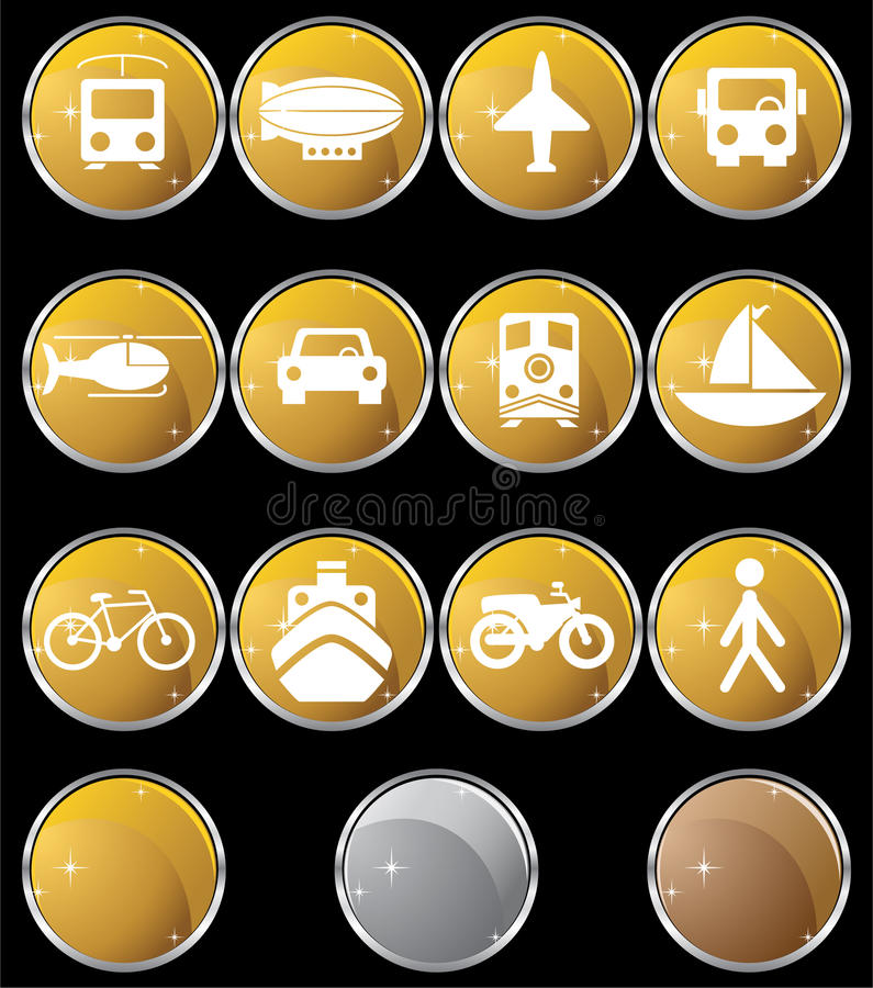 Download Transportation Buttons - Gold Round Stock Vector - Image: 9478922