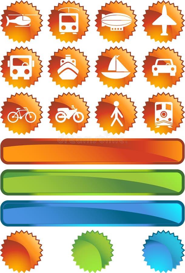 Transportation Buttons - Label vector illustration