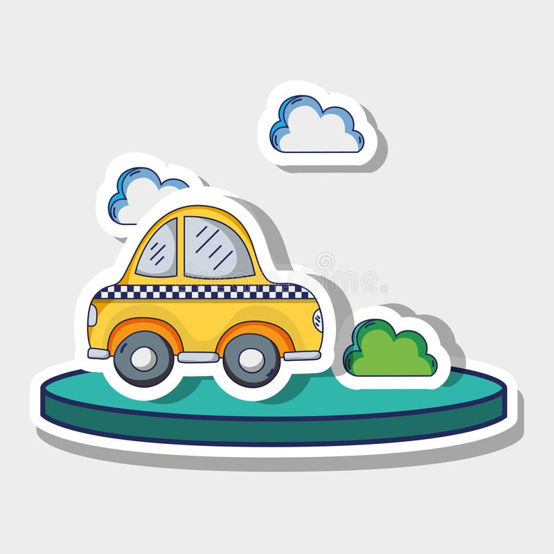 Transportation cab with clouds and bush patches. Vector illustration vector illustration