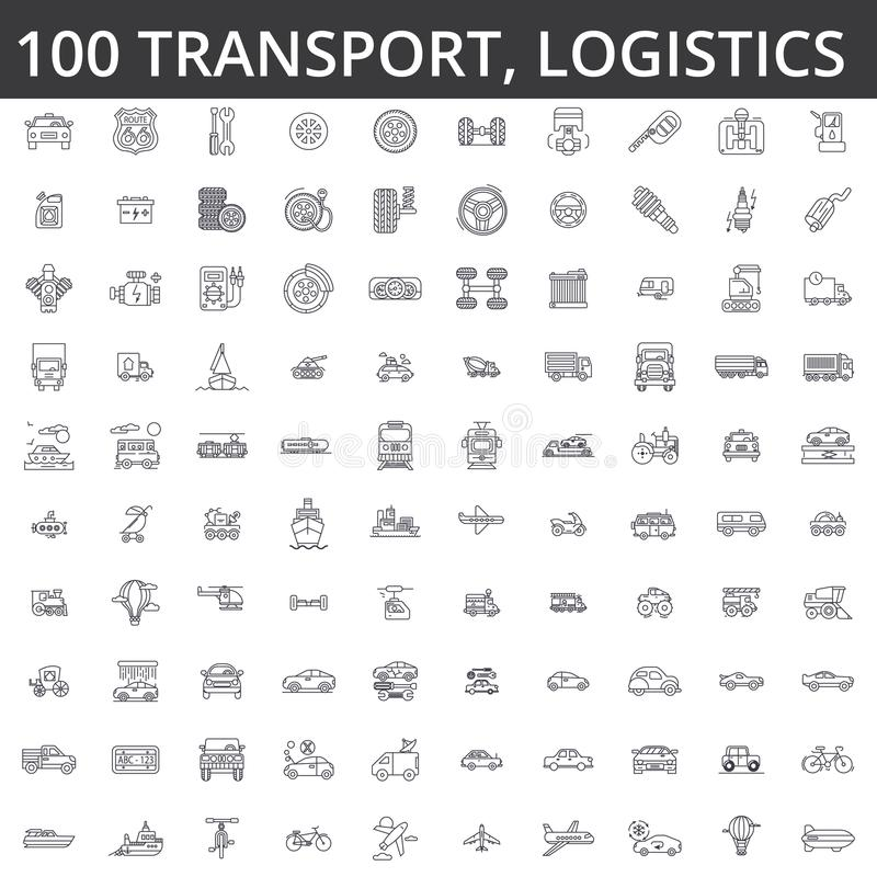 Transportation, car, logistics, vehicle, public transport, bus, tram, ship, shipping, auto service, truck line icons stock illustration