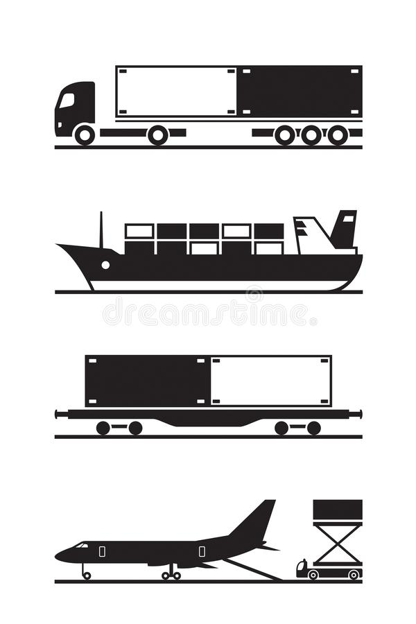 Transportation of cargo containers. Vector illustration royalty free illustration