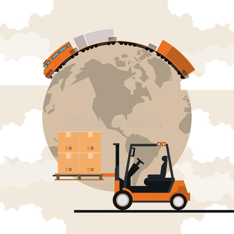 Transportation cargo merchandise logistic cartoon. Transportation cargo merchandise logistic train with forklift making travel around world with merchancy boxes stock illustration