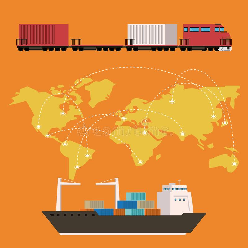 Transportation cargo merchandise logistic cartoon. Transportation cargo merchandise logistic train with ship making international delivery around the world vector illustration