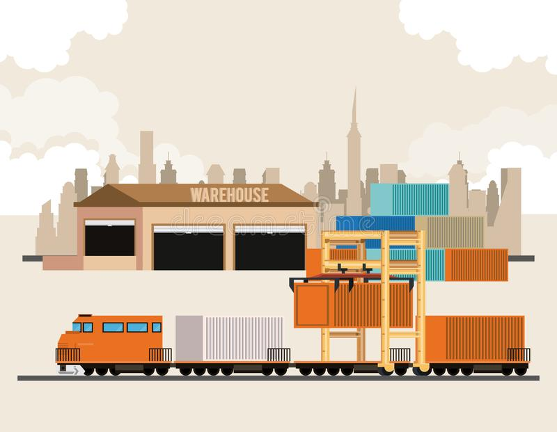 Transportation cargo merchandise logistic cartoon. Transportation cargo merchandise logistic train waiting to make delivery travel with containers cartoon vector stock illustration