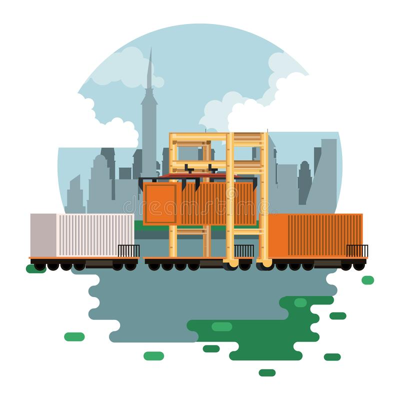 Transportation cargo merchandise logistic cartoon. Transportation cargo merchandise logistic train waiting to start delivery travel with containers cartoon vector illustration
