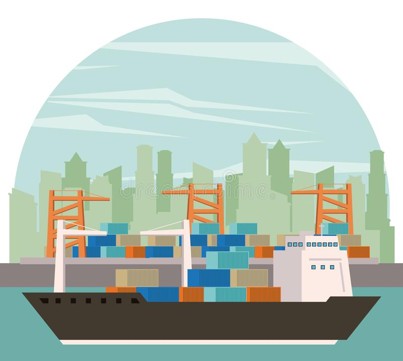Transportation cargo merchandise ship cartoon. Transportation cargo merchandise ship making travel with containers in distribution route crossing city port stock illustration