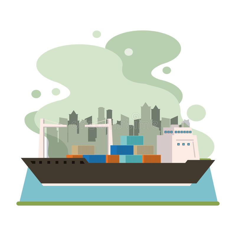 Transportation cargo merchandise ship cartoon. Transportation cargo merchandise ship making travel with containers in distribution route crossing city cartoon stock illustration