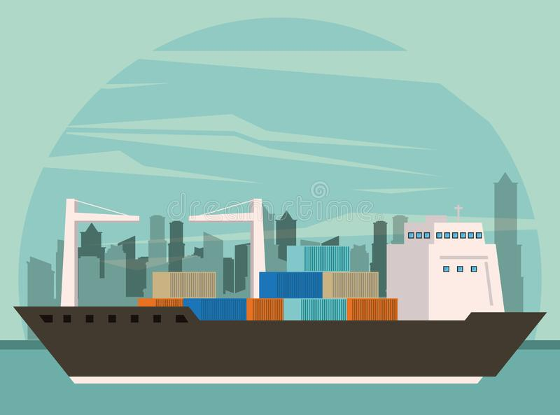 Transportation cargo merchandise ship cartoon. Transportation cargo merchandise ship making travel with containers in distribution route crossing city cartoon royalty free illustration