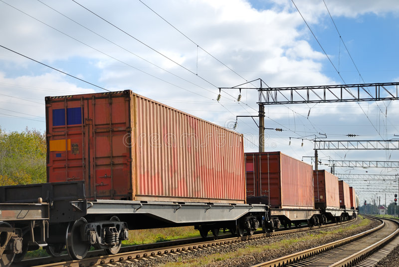 Transportation Of Cargoes By Rail In Containers Royalty Free Stock Image
