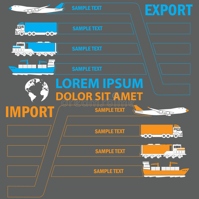 Transportation color tab for add text of business information. Vector style vector illustration
