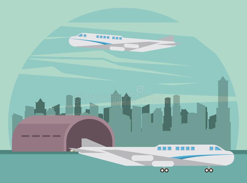 Transportation commercial passengers airplane cartoon stock illustration