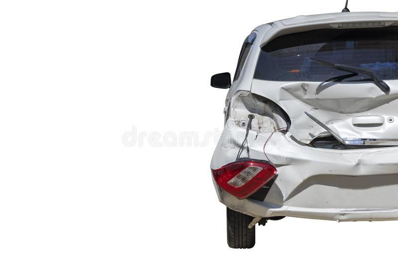 Back of car damaged and broken by accident on road. Isolate on white background. Save with cliping path. Transportation concept. Back of car damaged and broken stock images