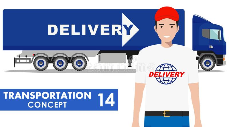 Transportation concept. Detailed illustration of delivery truck and driver on white background in flat style. Vector stock illustration