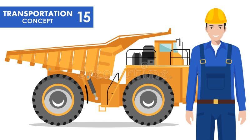 Transportation concept. Detailed illustration of workman, driver, miner, builder and off-highway truck on white. Detailed illustration of off-highway truck and royalty free illustration