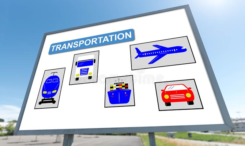 Transportation concept on a billboard stock photography