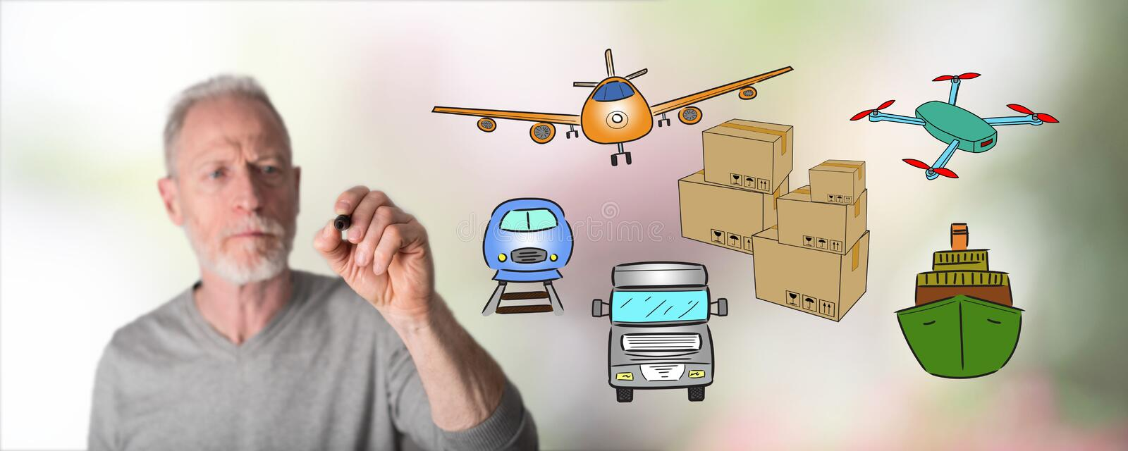 Man drawing transportation concept. Transportation concept drawn by a man stock photography