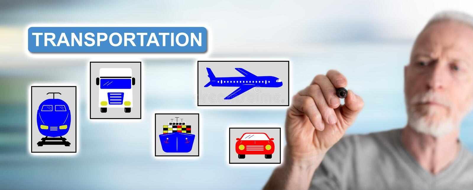 Man drawing transportation concept stock images