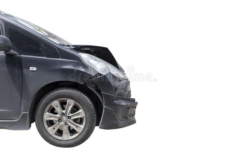 Front of black color car damaged and broken by accident isolate on white background. Save with cliping path. Transportation concept. Front of black color car royalty free stock photos