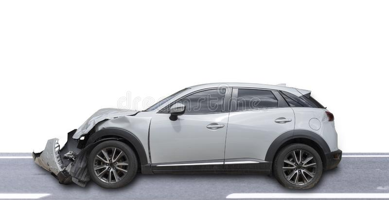 Gray color car damaged and broken by accident . Isolate on white background. Save with cliping path. Car crash. Transportation concept. Gray color car damaged royalty free stock photo