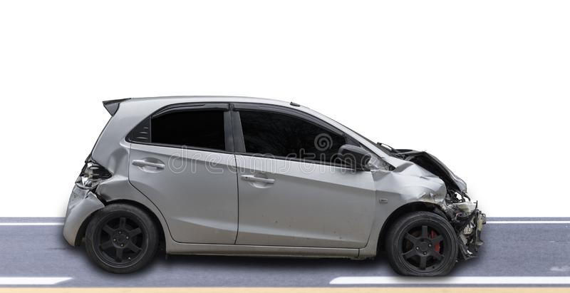 Gray color car damaged and broken by accident . Isolate on white background. Save with cliping path. Car crash. Transportation concept. Gray color car damaged stock photo