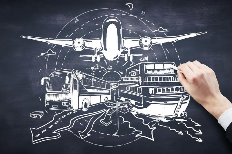 Transportation concept. Hand drawing bus, ship and airplane on chalkboard background. Transportation concept royalty free stock photos
