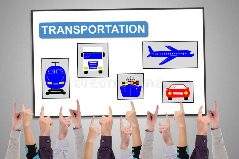 Transportation concept on a whiteboard royalty free stock photos