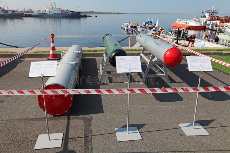 Transportation container, anti-torpedo and guided bomb. ST.-PETERSBURG - JUL 05: The Transportation container, anti-torpedo and guided bomb on International stock photography