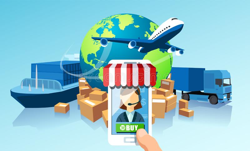 Transportation delivery logistics network via mobile app technology concept. Global shipping of cargo by air trucking rail transpo. Rtation maritime royalty free illustration