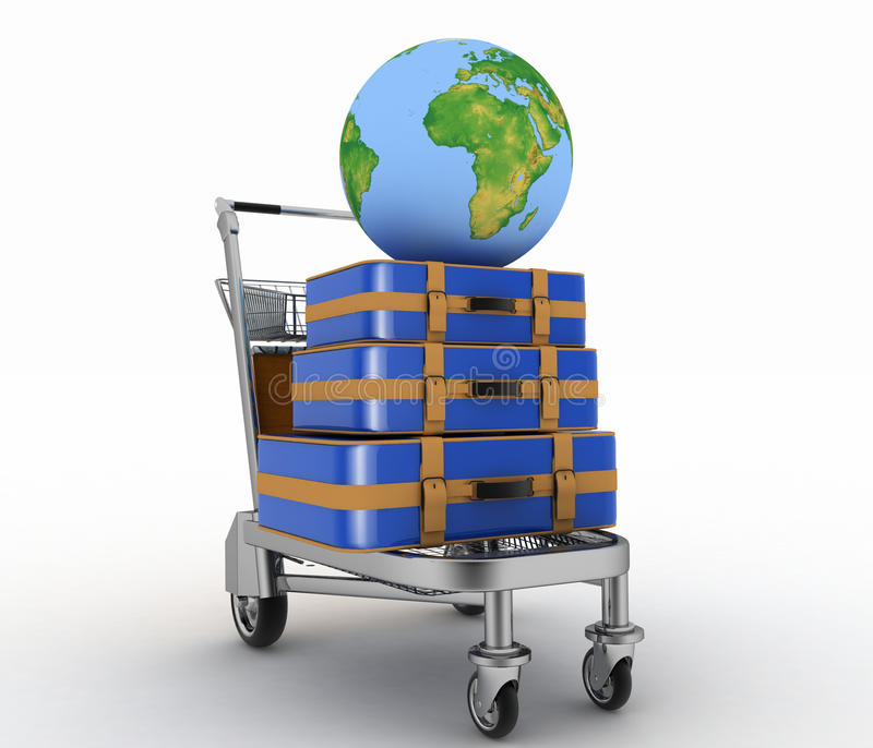 Transportation of earth and suitcases on freight light cart royalty free illustration