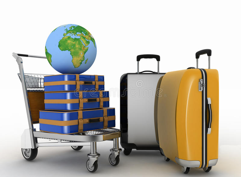 Transportation of earth and suitcases on freight light cart vector illustration