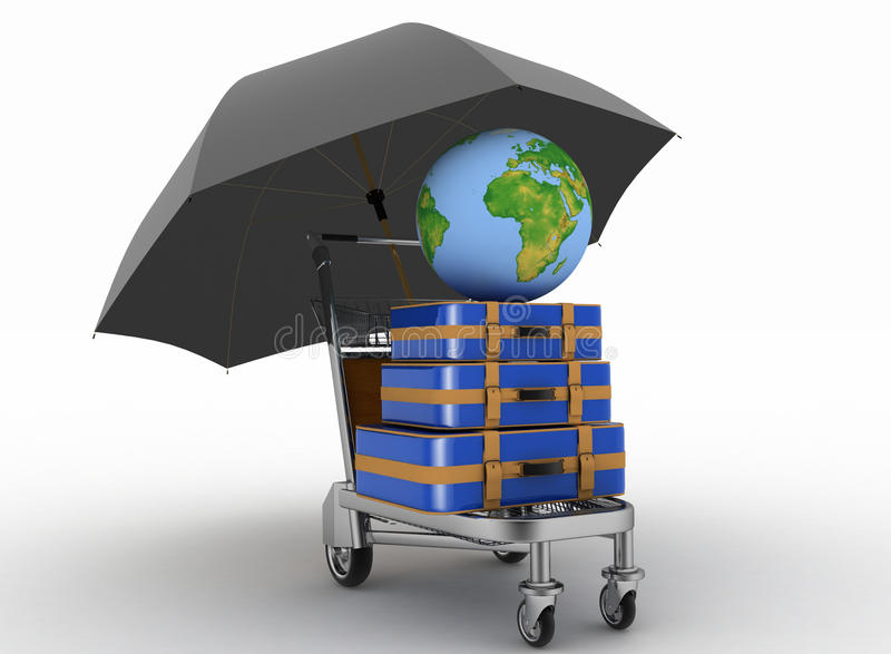 Transportation of earth and suitcases on freight light cart under umbrella. vector illustration