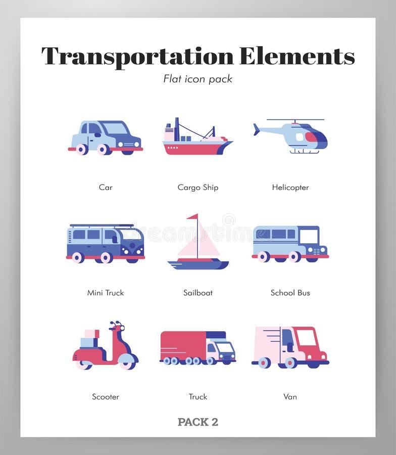 Transportation elements flat pack. Transportation vector illustration in flat color design stock illustration