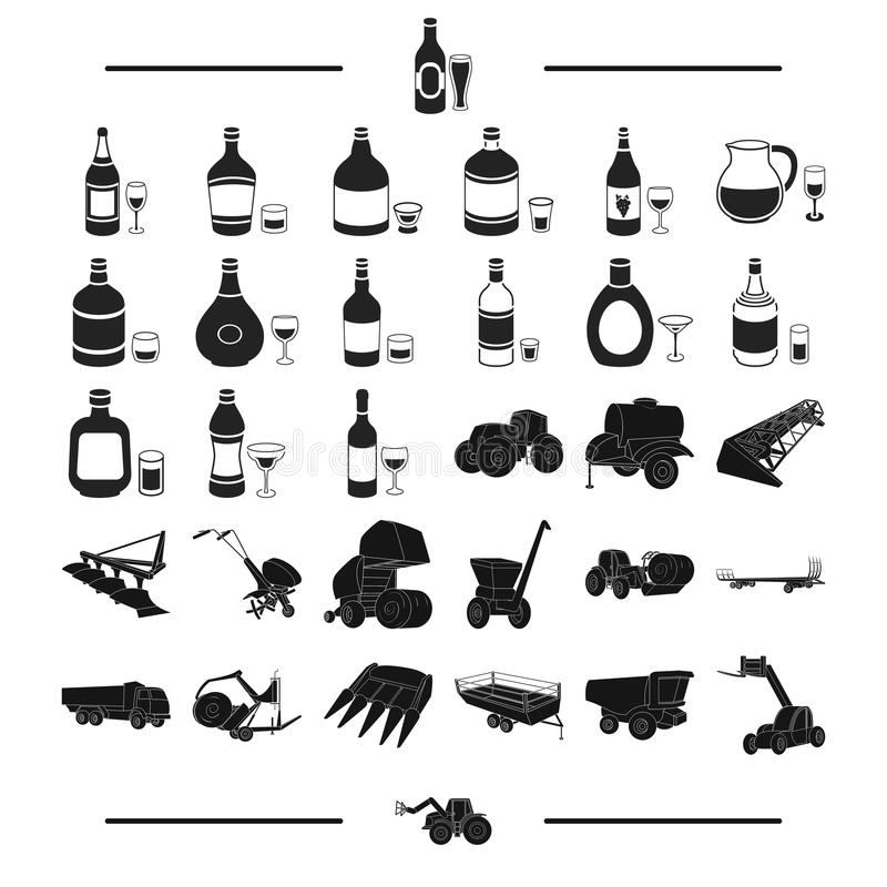 Transportation, equipment, Agricultural and other web icon in black style.food, desserts, transport, icons in set stock illustration