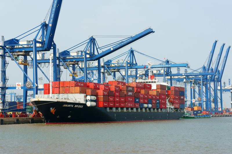 Transportation, export, import, Ho Chi Minh port stock photos