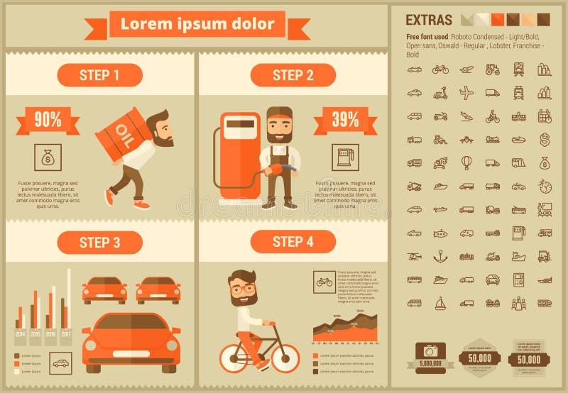 Transportation flat design Infographic Template. Transportation infographic template and elements. The template includes illustrations of hipster men and huge stock illustration