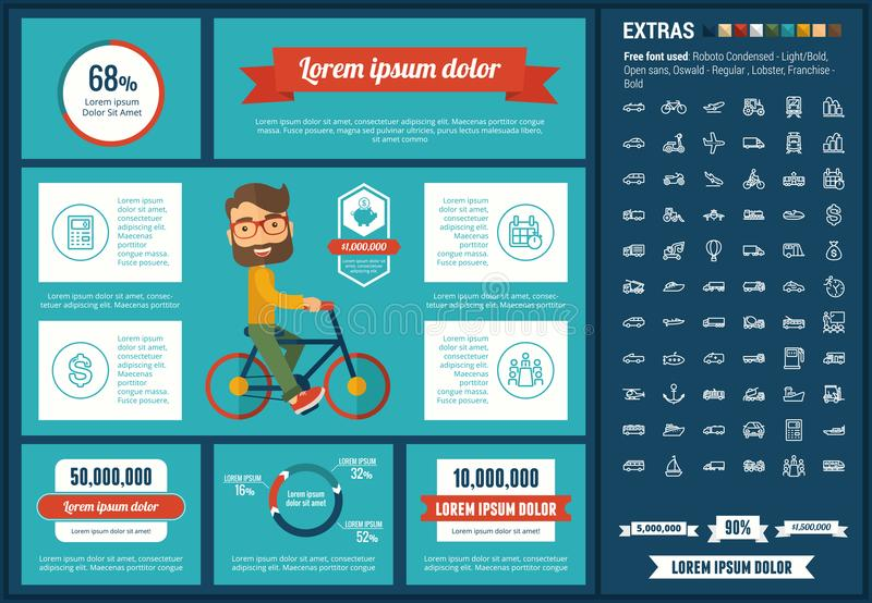 Transportation flat design Infographic Template. Transportation infographic template and elements. The template includes illustrations of hipster men and huge royalty free illustration