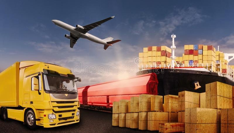 Transportation of goods by truck, plane, ship and train stock photos