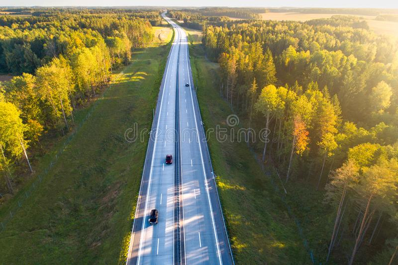 Transportation. Highway aerial view royalty free stock photos