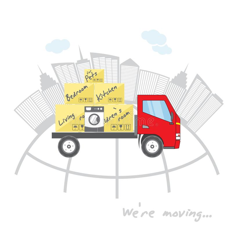 Transportation and home removal. We`re moving. Stylized house with boxes for moving on red truck. Red truck on a background of s vector illustration
