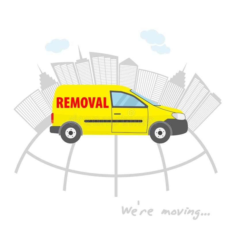 Transportation and home removal. We`re moving. The yellow car for transportation and home removal. Yellow minivan on a backgroun royalty free illustration