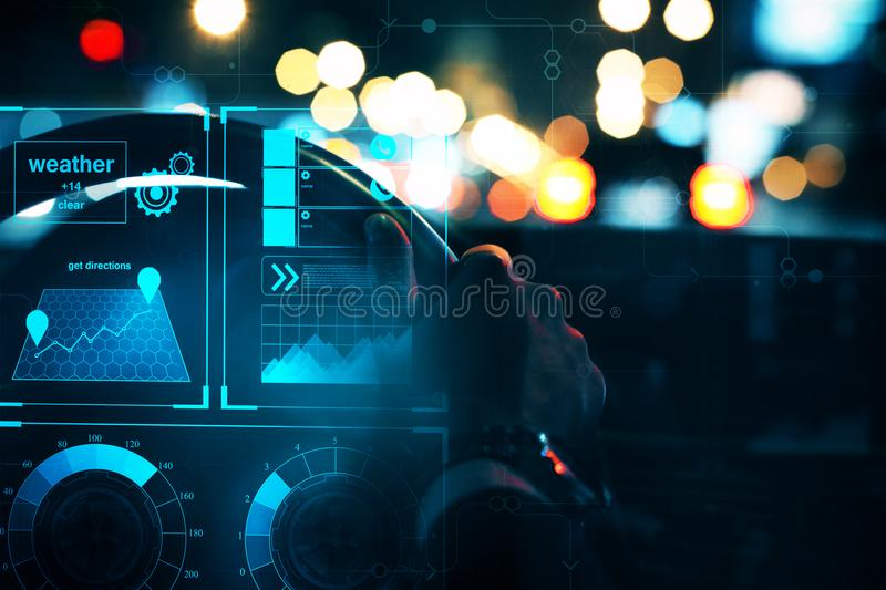 Transportation and hud concept. Close up of businessman hands driving car with abstract glowing digital interface. Transportation and hud concept. 3D Rendering stock photo
