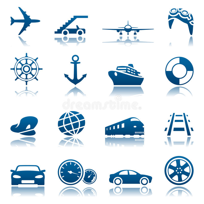 Transportation icon set. Set of blue transportation icons stock illustration