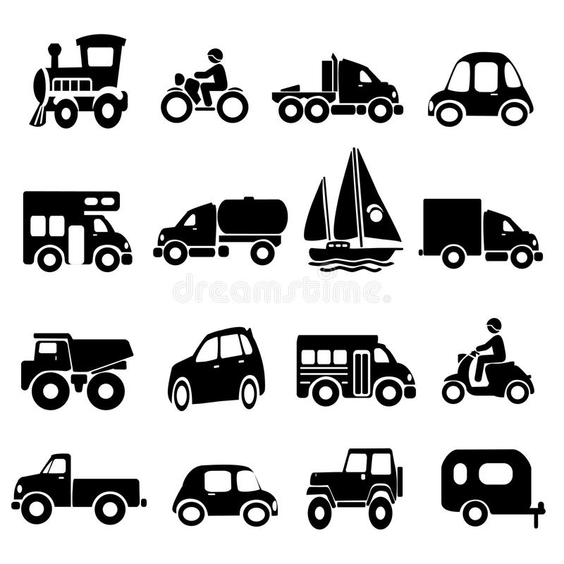 Download Transportation Icon Set stock vector. Image of drawn - 22742385