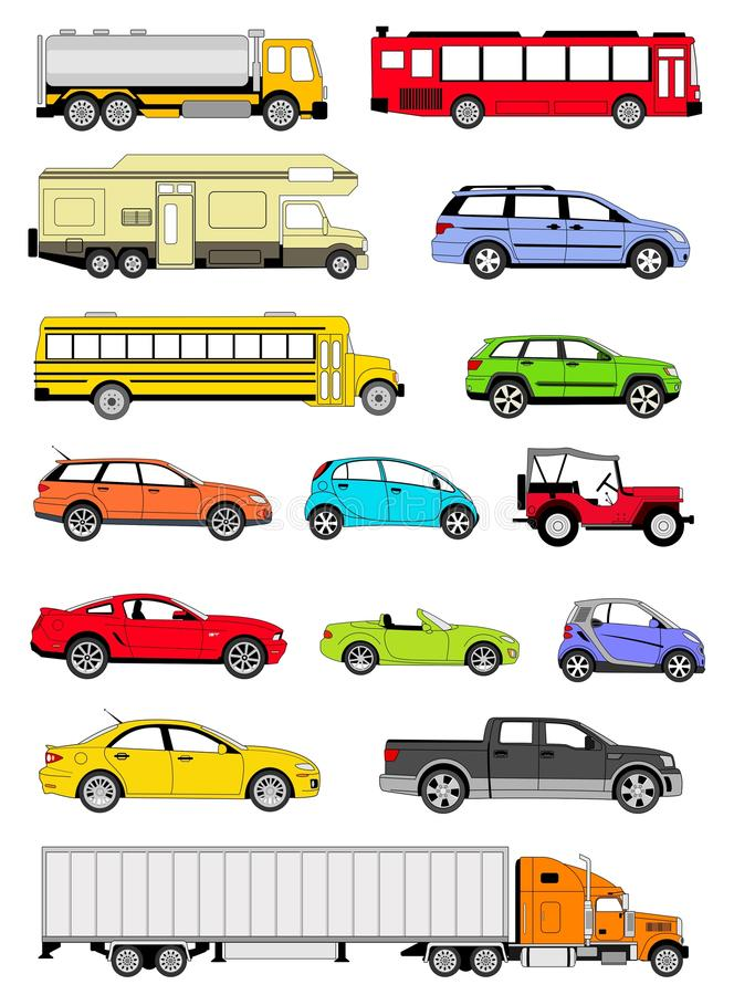 Transportation icons. An illustration of transportation icons in different colors royalty free illustration