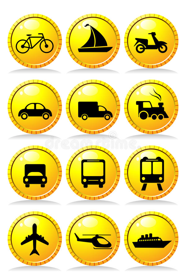 Download Transportation icons stock vector. Image of design, black - 19885857